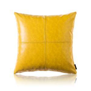 Taie de coussin jaune cuir huile imitation pour voiture bureau lombaire canapé sofa