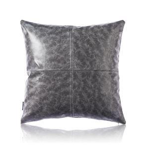Taie de coussin gris en cuir haute qualité pour voiture bureau lombaire canapé sofa