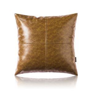Taie de coussin brun jaunâtres cuir huile imitation canapé