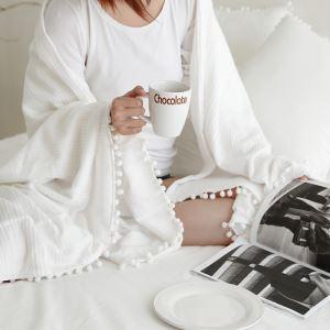(Entrepôt UE) Village américain fait à la main Boules de décoration en dentelle de laine blanc couvertures domicile/Voyage/conditionnement d'air