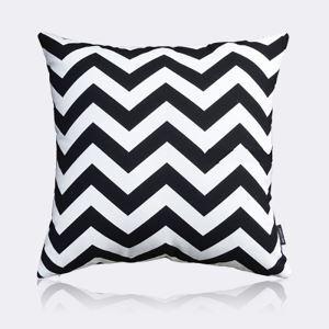 Taie d'oreiller velours motif en vagues noir et blanc