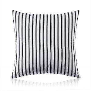 Taie d'oreiller velours bandes verticales noir et blanc