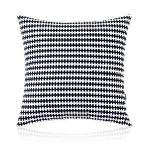 Taie d'oreiller velours géométrie noir et blanc