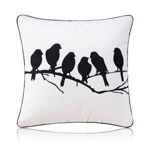 Taie d'oreiller velours oiseaux noir et blanc