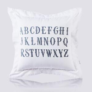 Taie d'oreiller velours noir et blanc Motif de lettre