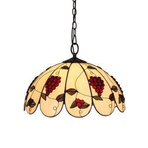 (Entrepôt UE)16 inch Suspension style rétro jardin européen Abat-jour en verre à motif des raisins luminaire pour salon chambre salle à manger cuisine