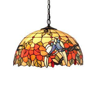 (Entrepôt UE)16 inch Suspension style rétro jardin européen Abat-jour en verre forme de petit oiseau et fleur luminaire pour salon chambre salle à manger cuisine