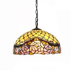 (Entrepôt UE)16 inch Suspension style rétro jardin européen Abat-jour en verre forme de roses colorées luminaire pour salon chambre salle à manger cuisine