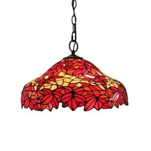 (Entrepôt UE)16 inch Suspension style rétro jardin européen Abat-jour en verre à motif de feuille d'érable rouge luminaire pour salon chambre salle à manger cuisine