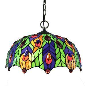 (Entrepôt UE)16 inch Suspension style rétro jardin européen Abat-jour en verre forme de feuilles colorées luminaire pour salon chambre salle à manger cuisine