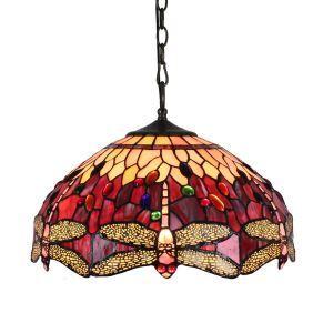 (Entrepôt UE)16 inch Suspension style rétro jardin européen Abat-jour en verre rouge à motif de libellule luminaire pour salon chambre salle à manger cuisine
