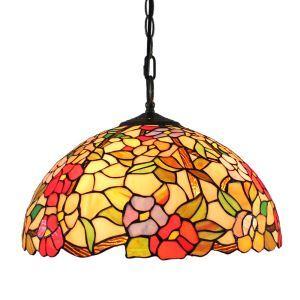 (Entrepôt UE)16 inch Suspension style rétro jardin européen Abat-jour en verre de couleur à motif des fleurs luminaire pour salon chambre salle à manger cuisine