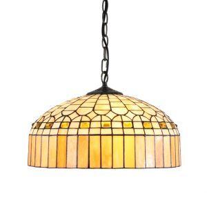 (Entrepôt UE)16 inch Suspension style rétro jardin européen Abat-jour en verre à motif de Cristal Palace luminaire pour salon chambre salle à manger cuisine