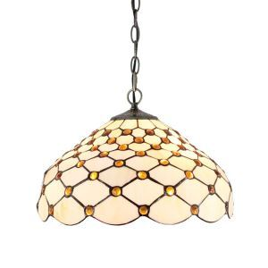 (Entrepôt UE)16 inch Suspension style rétro jardin européen Abat-jour en verre à motif de maille luminaire pour salon chambre salle à manger cuisine