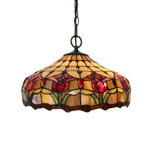 (Entrepôt UE)16 inch Suspension style rétro jardin européen Abat-jour en verre à motif de fleur rouge luminaire pour salon chambre salle à manger cuisine