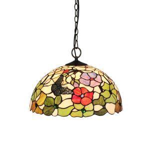 (Entrepôt UE)16 inch Suspension style rétro jardin européen Abat-jour en verre à motif de fleur et papillon luminaire pour salon chambre salle à manger cuisine