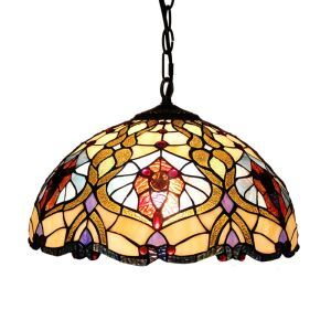 (Entrepôt UE)16 inch Suspension style rétro jardin européen abat-jour en verre de couleur luminaire pour salon chambre salle à manger cuisine