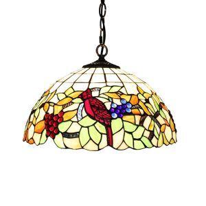 Suspension style rétro jardin européen petit oiseau Abat-jour en verre à motif des raisins luminaire pour salon chambre salle à manger cuisine