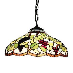 (Entrepôt UE)16 inch Suspension style rétro jardin européen Abat-jour en verre de couleur à motif des raisins luminaire pour salon chambre salle à manger cuisine