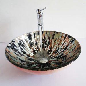 Vasque à poser verre trempé avec robinet pour salle de bains toilettes