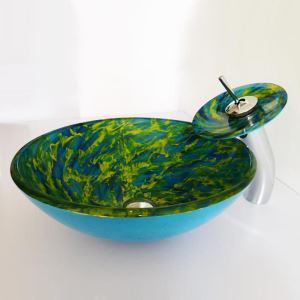 Vasque à poser verre trempé avec robinet  à motif spirale bleue et verte pour salle de bains toilettes