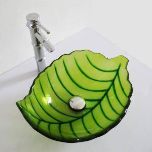 Vasque à poser verre trempé L 43.5 cm forme de feuille verte pour salle de bains toilettes
