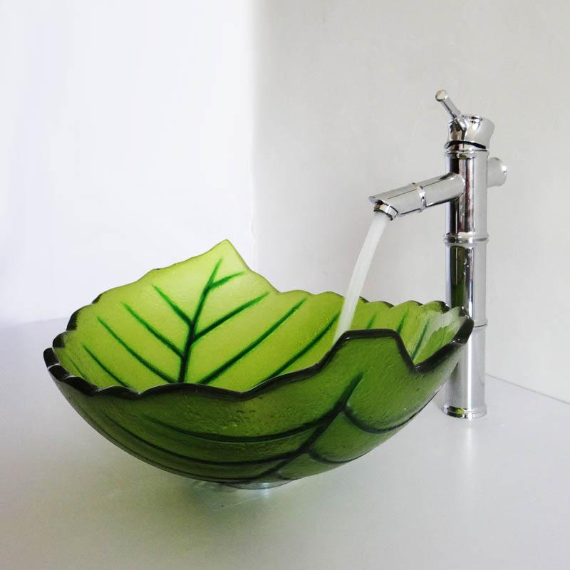 Vasque à poser verre trempé L 43.5 cm forme de feuille verte ...