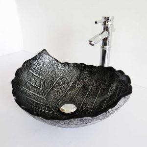 Vasque à poser verre trempé L 43.5 cm noir forme de feuille pour salle de bains toilettes