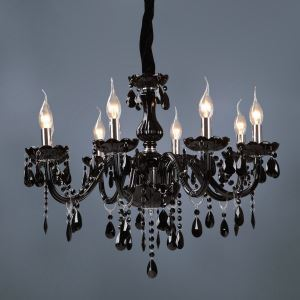 Lustre cristal baroque à 8 lampes D 70 cm noir pour salle