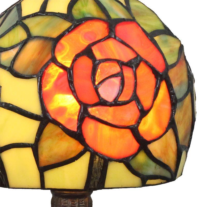 Lampe poser en verre tiffany motif rose rouge luminaire pour chambre coucher salon restaurant - Lampe pour chambre a coucher ...