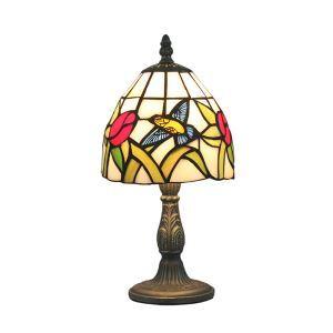 Lampe à poser en verre tiffany à motif fleur et oiseau-mouche luminaire pour salon restaurant chambre