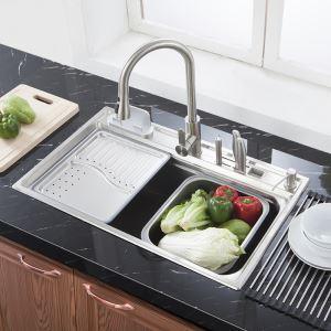Evier à encastrer inox L 78 cm avec 1 bac panier de vidage plateau de vidage distributeur de savon pour cuisine