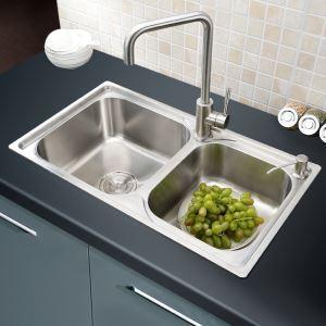 Moderne évier à encastrer en acier inoxydable 304, 2 bacs simple avec panier de vidage et distributeur de savon pour cuisine AOM7241