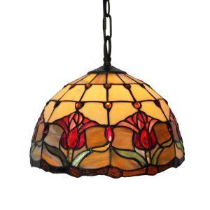 Suspension en verre tiffany à motif fleur rouge luminaire pour chambre salon cuisine chambre