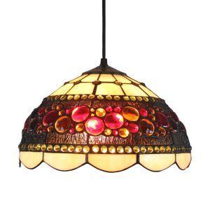 Suspension à motif perles couleurs en verre tiffany luminaire pour chambre salon cuisine chambre