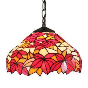 Suspension en verre tiffany à motif feuille d'érable rouge luminaire pour chambre salon cuisine chambre