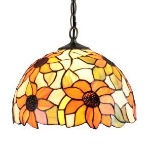 (Entrepôt UE)12inch Lustre style Pastoral Européen Rétro Suspension abat-jour à motif fleur couleur en verre luminaire pour chambre salon cuisine chambre