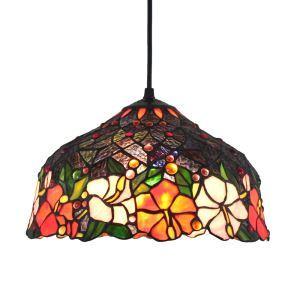 (Entrepôt UE)12inch Lustre style Pastoral Européen Rétro Suspension abat-jour en verre à motif volubilis luminaire pour chambre salon cuisine chambre