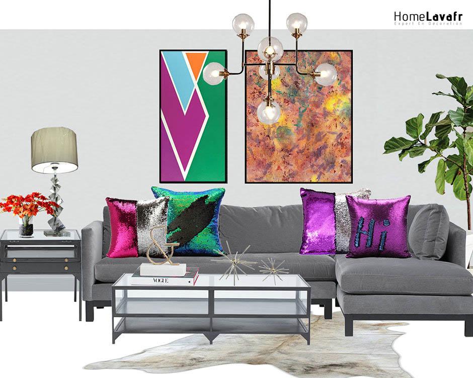 Salle de séjour avec coussin décoratif et décoratif