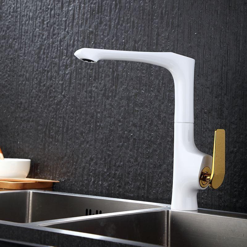 mitigeur robinet de cuisine blanc dor h 29 cm pas cher. Black Bedroom Furniture Sets. Home Design Ideas