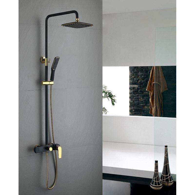 Mitigeur Robinet de douche noir pomme de douche carré 3 trous poignée d'or  pour salle de bains style rétro