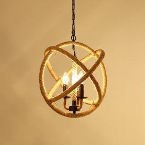 Suspension design Rétro à 3 Lampes Chanvre Corde Lustre Style de campagne luminaire cuisine salon chambre