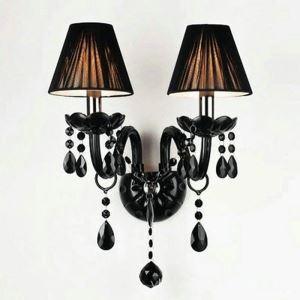 Applique murale à 2 lampes en tissu cristal noir H40cm pour salle chambre