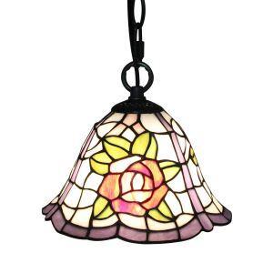 Suspension vintage en verre tiffany roses luminaire chambre salon cuisuine salle à manger