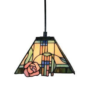 Suspension vintage en verre tiffany rose roses luminaire chambre salon cuisuine salle à manger