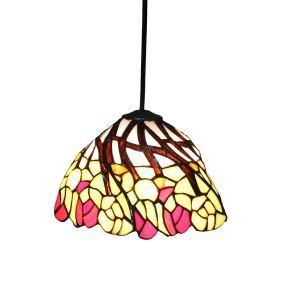 Suspension vintage en verre tiffany fleurs colore luminaire chambre salon cuisuine salle à manger
