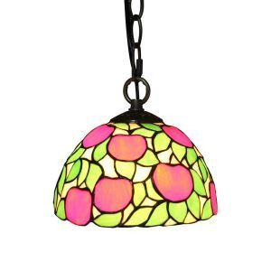 Suspension vintage en verre tiffany à motif des pommes rouge luminaire chambre salon cuisuine salle à manger