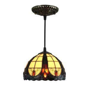Suspension tiffany en verre D20cm colore luminaire chambre salon cuisuine salle à manger