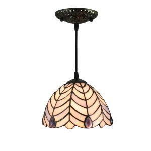 Suspension vintage en verre tiffany à motif des feuilles luminaire chambre salon cuisuine salle à manger