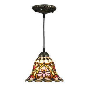Suspension en verre tiffany vintage colore D20cm luminaire chambre salon cuisuine salle à manger